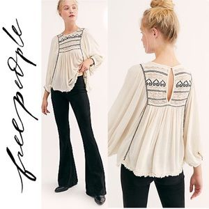 🆕 Free People Ivory Embroidered Top